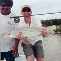 large snook with fly rod