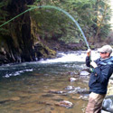 hooked up in fast small stream chute