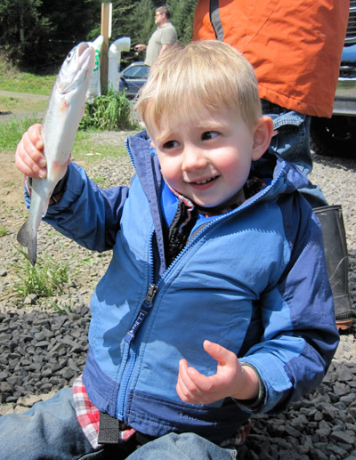 Noah Sampson's first trout