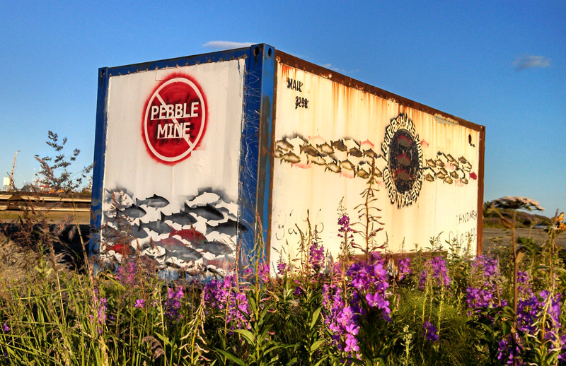 Shipping container with no pebble mine art